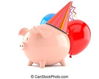 Piggy bank with birthday hat