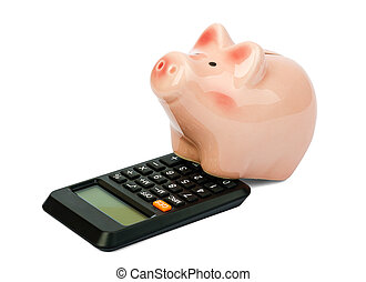 Piggy bank with calculator on white