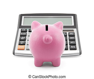 Piggy bank with callculator