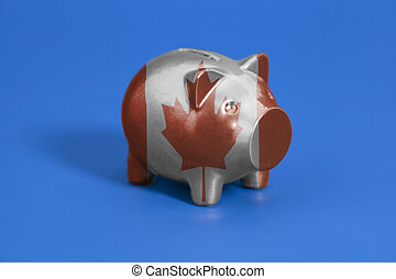 Piggy bank with Canada flag