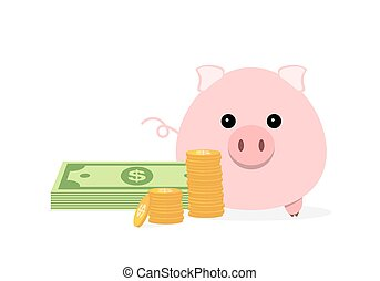 Piggy bank with cash money and coins. Vector illustration.