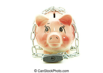 piggy bank with chain