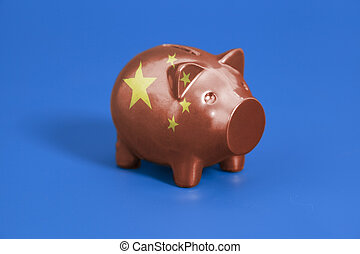 Piggy bank with China flag