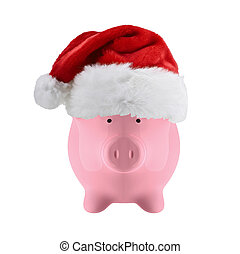Piggy bank with christmas hat isolated