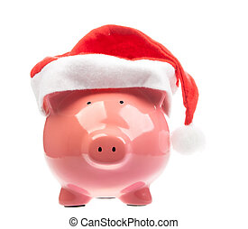 Piggy bank with christmas hat