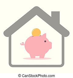 piggy bank with coin in a house isolated on white background