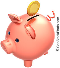 Piggy bank with coin over it
