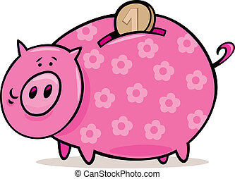 Piggy bank with coin - Illustration of piggy bank with coin