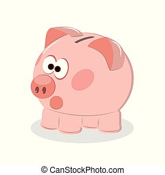 Piggy bank with coin vector illustration. Icon saving or accumulation of money, investment. Icon piggy bank in a flat style, isolated from the background. The concept of banking or business services