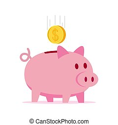 Piggy bank with coin vector illustration.
