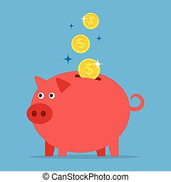 Piggy bank with coins.