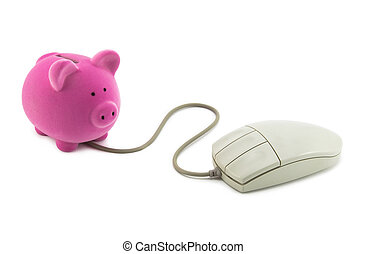Piggy bank with computer mouse