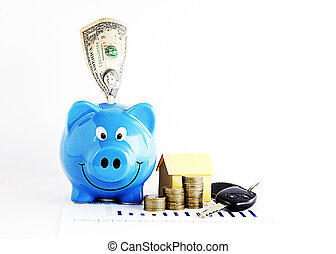 Piggy bank with dollar and coins stack and home paper and carkeys for Loans money concept Vertical