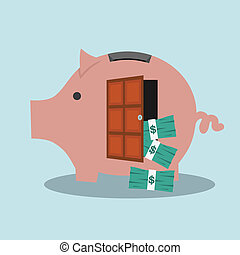 Piggy bank with dollar banknotes on blue background