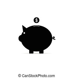 piggy bank with dollar coin illustration