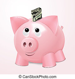 Piggy bank with dollar concept