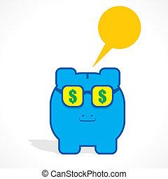 piggy bank with dollar gogal