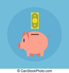 Piggy Bank With Dollar Icon Money Saving Concept