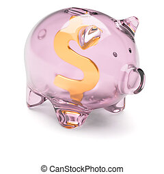 Piggy bank with dollar sign inside isolated on white