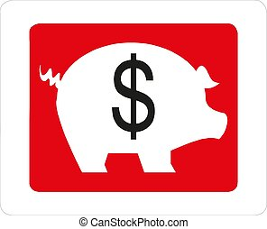 Piggy bank with dollar sign Vector illustration