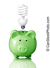 piggy bank with energy saving  lightbulb