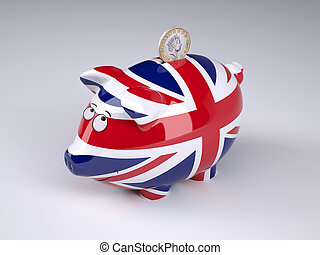 Piggy bank with English flag and sterling coin
