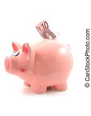 Piggy bank with euro money