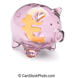 Piggy bank with euro sign inside isolated on white