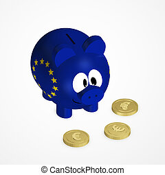 piggy bank with european union flag and euro coins over...