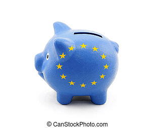Piggy Bank with European Union flag