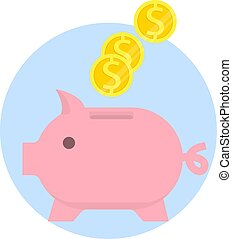 Piggy bank with falling coins isolated on white background. Saving or accumulation of money, investment. Vector Flat Icon