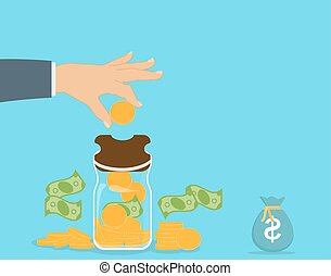 Piggy bank with falling gold coins - Contribution to the Future. Vector Illustration.