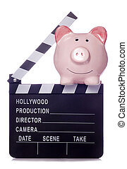 Piggy bank with film clapper board cutout