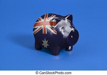 Piggy bank with Flag of Australia
