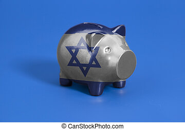 Piggy bank with Flag of Israel