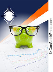 Piggy bank with flag on background - Marshall Islands