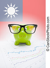 Piggy bank with flag on background - Republic of China - Taiwan