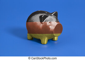 Piggy bank with German flag