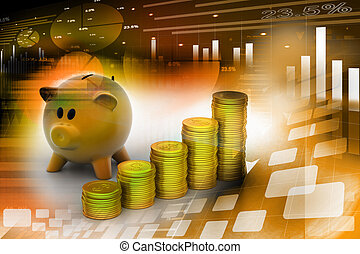 piggy bank with gold coins