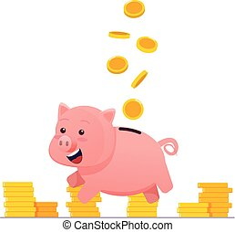 Piggy bank with gold coins.