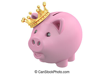 Piggy Bank with Gold Crown, 3D rendering