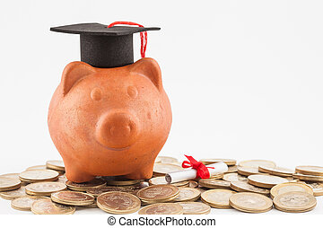 Piggy bank with graduation cap isolated on white background. Saving money to study concept