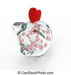 Piggy bank with hearts