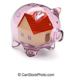 Piggy bank with house inside isolated on white