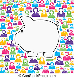 piggy bank with in group of people