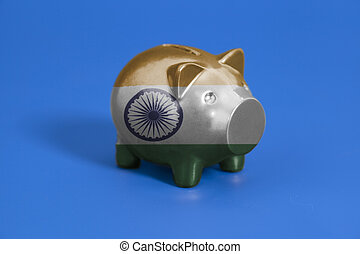 Piggy bank with Indian flag
