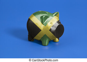 Piggy bank with Jamaica flag