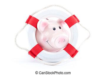 piggy-bank with lifebelt