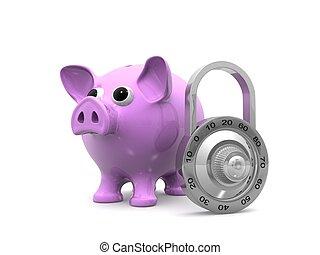 Piggy bank with lock