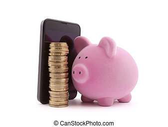 Piggy bank with mobile phone and euro coins. Clipping path included.